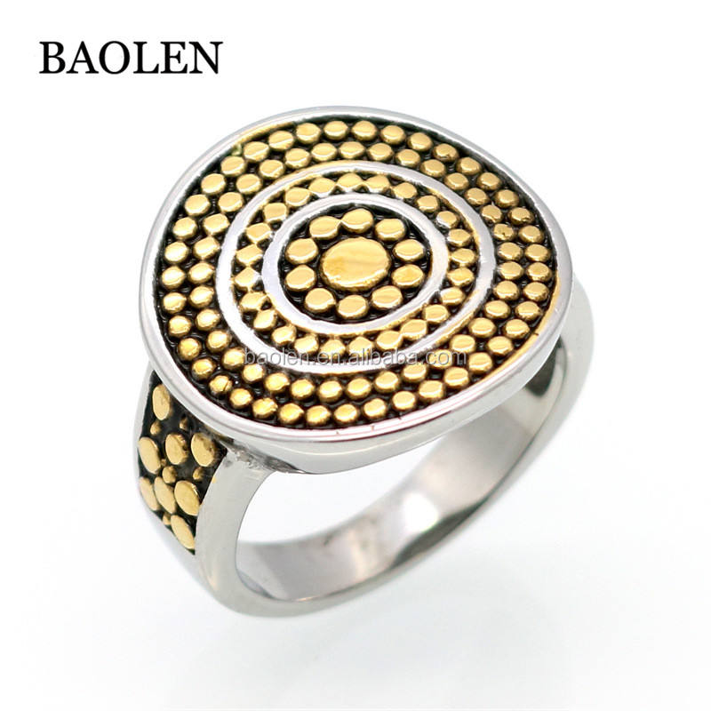 Spring 2017 Gold Color Titanium Steel Round Circular Dotted Ring David Brand Luxury Big Rings For Women Fashion Jewelry