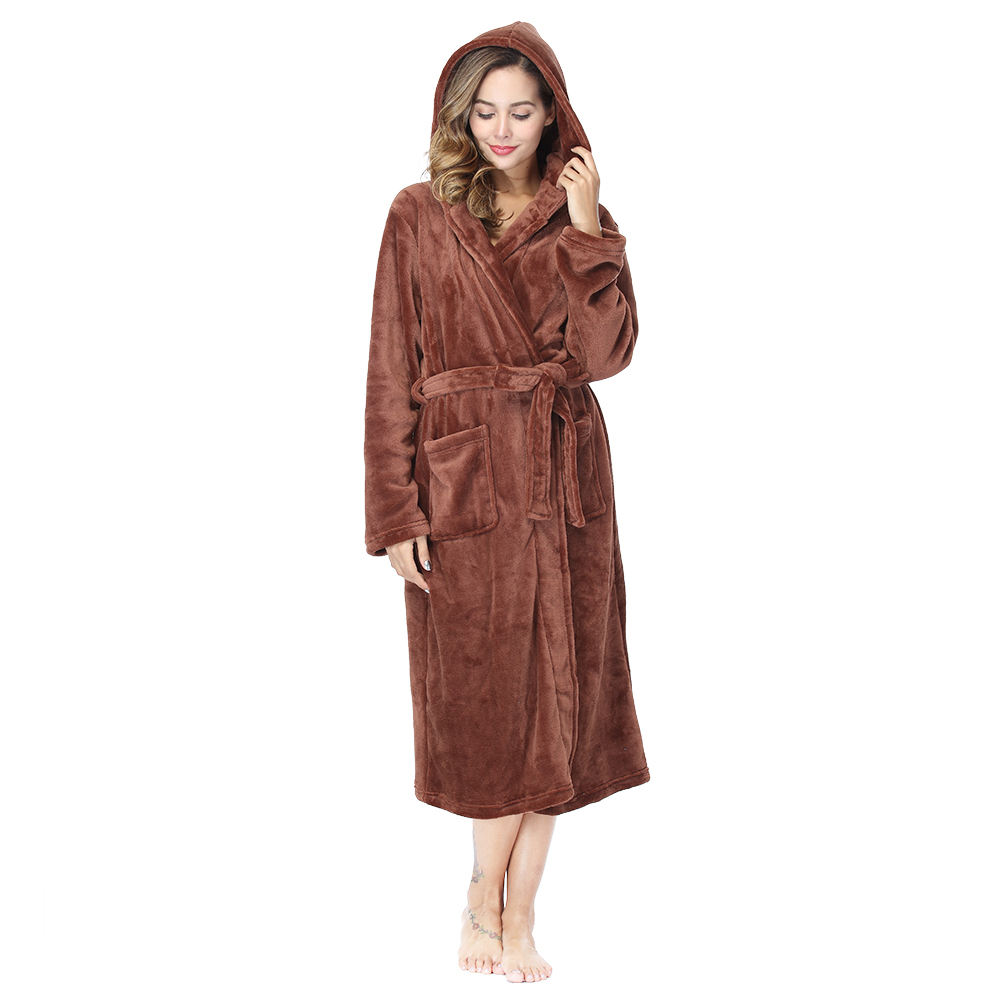 Wholesale Sexy Ladies Brown Flannel Bathrobe 100%Polyester Long Sleeve Night-Robe With Hat