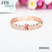 Fashion Colorful Zircon Bracelets Bangles 18K Rose Gold Plated Hand Chain Jewelry Wholesale BR0001