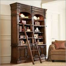 Hooker Furniture 431-10-255 - New Castle Double Bookcase with Ladder in Old World Finish
