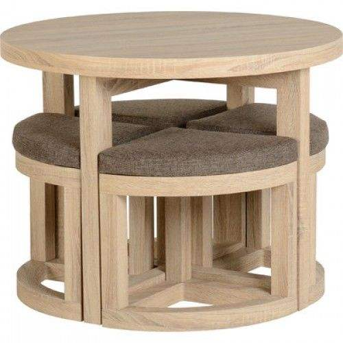 Kitchen Breakfast Room 4 Seats Small Spaces Round Oak Dining Table And Chairs