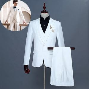 high quality tuxedos bespoke men 2 button white suit set