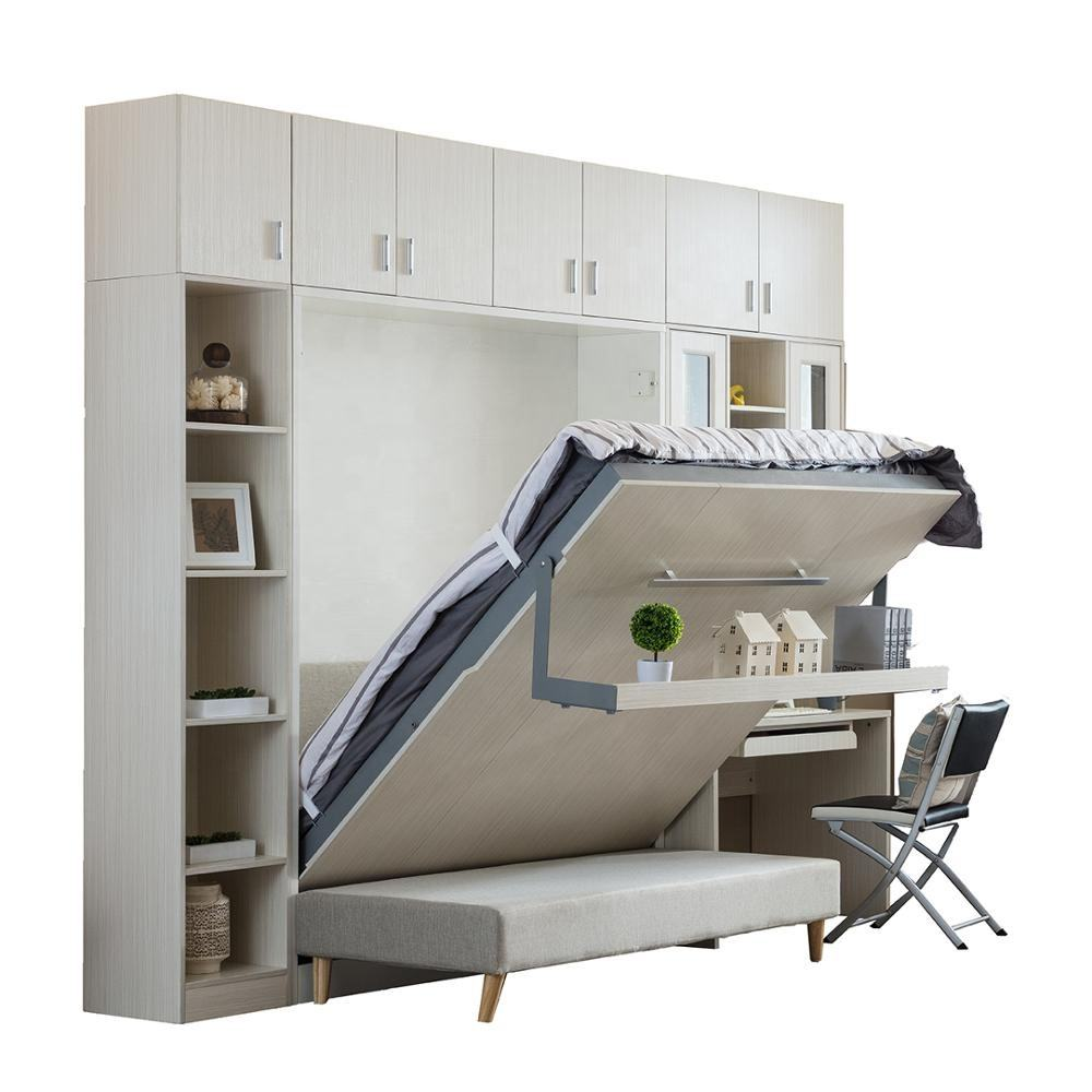 Space saving furniture folding wooden wall bed murphy bed mechanism