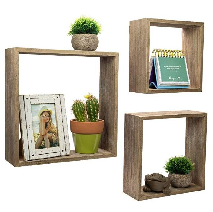 Wood material wood colour cube shelf wall display shelf wooden shelf
