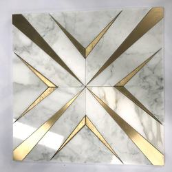 calacatta white marble stone Waterjet mosaic inlay brass tile