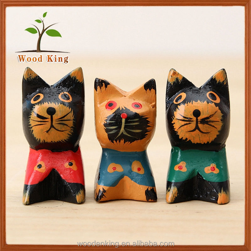 Zakka Wood Carving Crafts European Home Furnishings Creative Household Products Solid Carved Wooden Cat