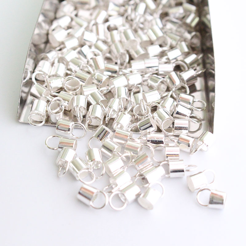 Silver Tone Necklace Cord End Tip Beads Caps W//Loop 6x4mm fit 3mm cord