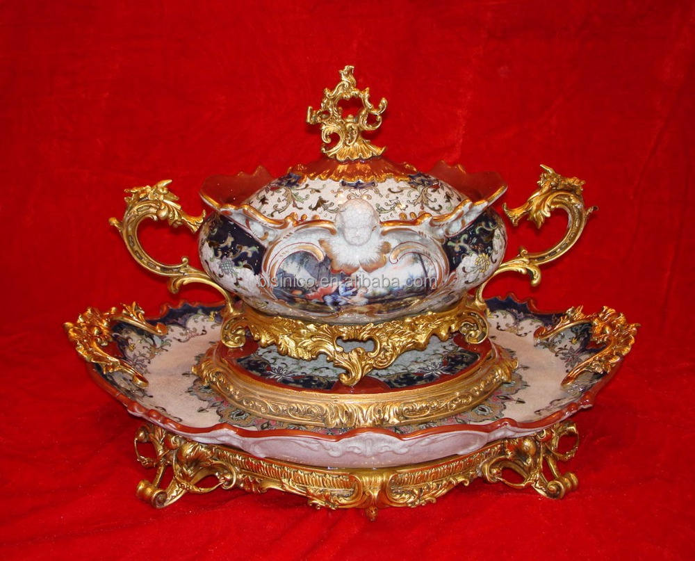 Luxury Royal Style Gilt Brass Soup Pot, Excellent Hand Painted Porcelain with Gold Plated Bronze Handle and Base Stockpot