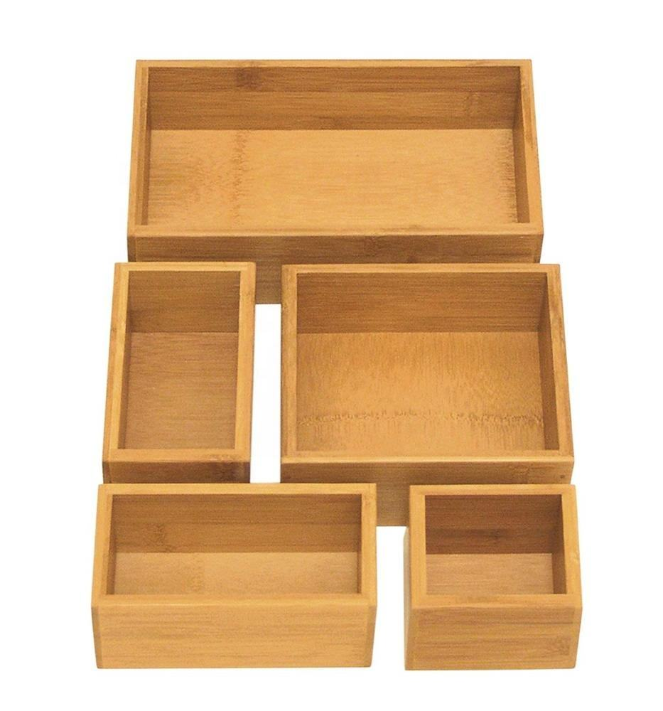 5-Piece Bamboo Storage Box Drawer Organizer Box Set For Kitchen living room