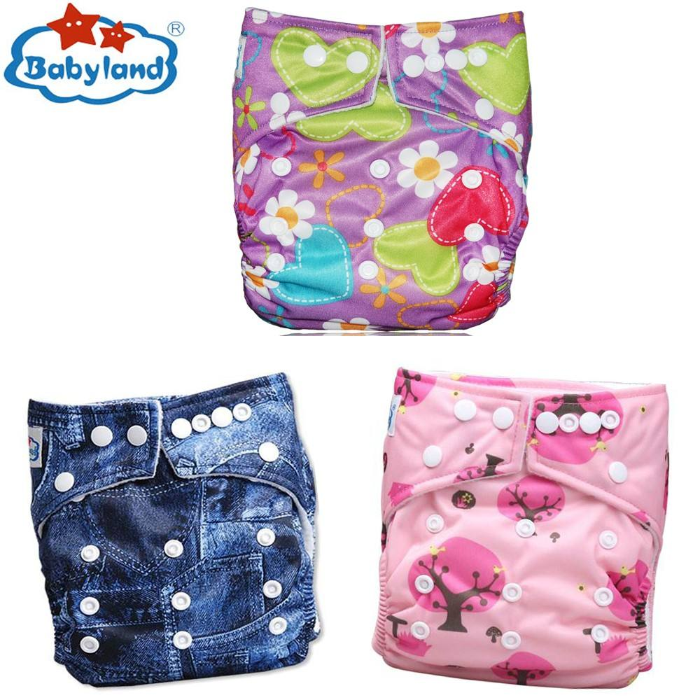 Mixed Prints 100% Polyester Pocket Babyland Cloth Diapers with 5 layers Charcoal Bamboo Inserts