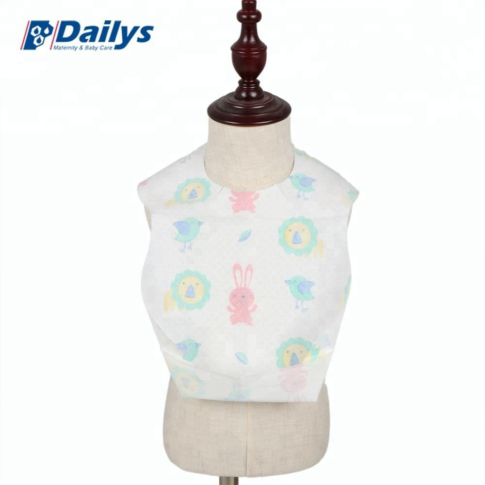 Whosale printed teething organic cotton new waterproof custom waterproof disposable paper baby bibs for dinner