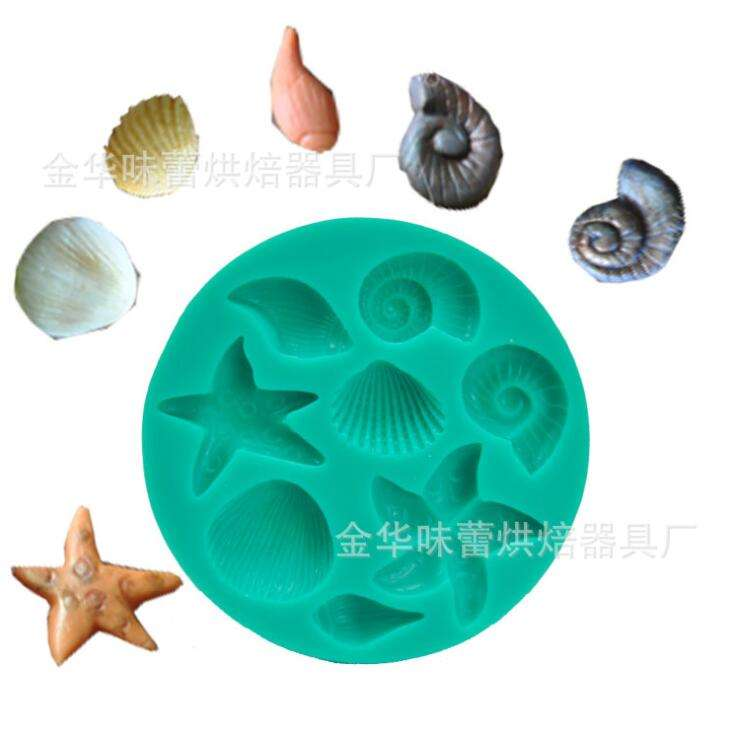 Seashell Silicone Fondant Mold High Definition Quality Cupcake Cake Decoration Ocean Theme Birthday Party Tool for Candy