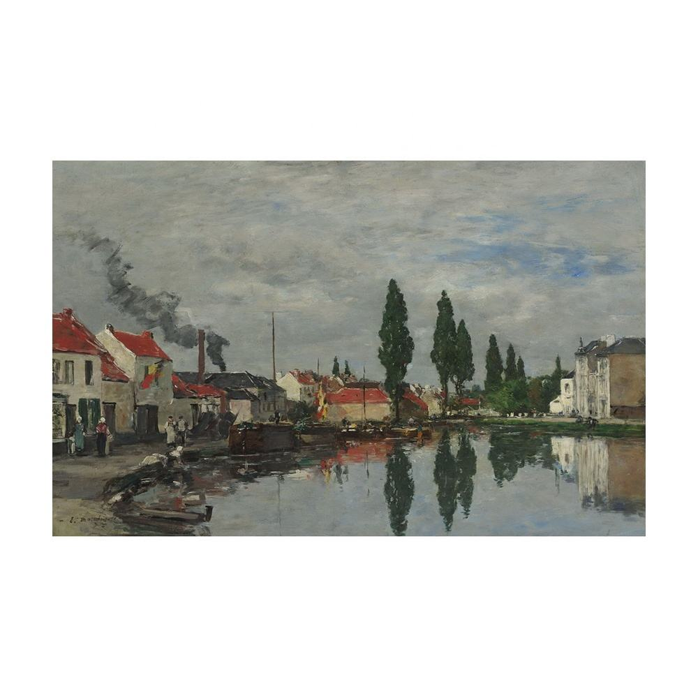 Eugene Boudin Giclee Canvas Print Paintings Poster Reproduction Fine Art Wall Decor(Bruxelles The Channel Of Louvain)