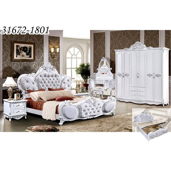 Classic King Size Wooden Royal Style Bedroom Furniture Set 31672-1801