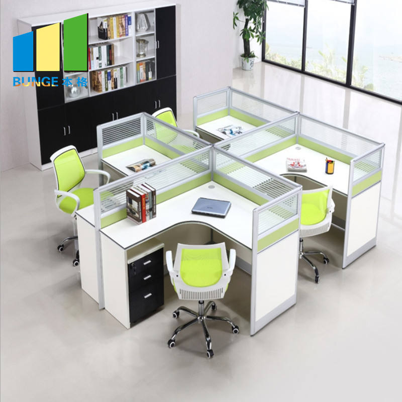High End Modular customized office cubicle glass partition wall divider office 2-6 seat cubicle workstation office furniture