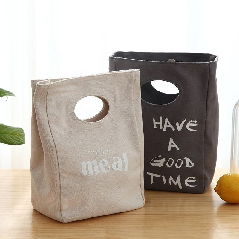 Durable Portable Food Packing Canvas Insulated Cooler Bag Lunch Carry Bag
