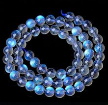 Natural AAA Grade Blue Moonstone Loose Beads, Gray Moonstone Labradorite Stone Round Beads for Bracelet Making