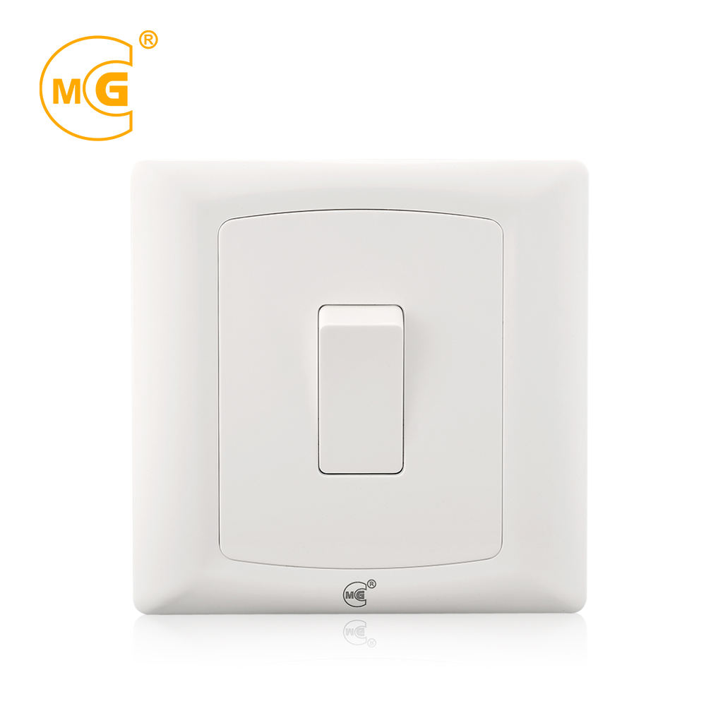 Screwless plastic plate 1 gang 1 way wall light switch