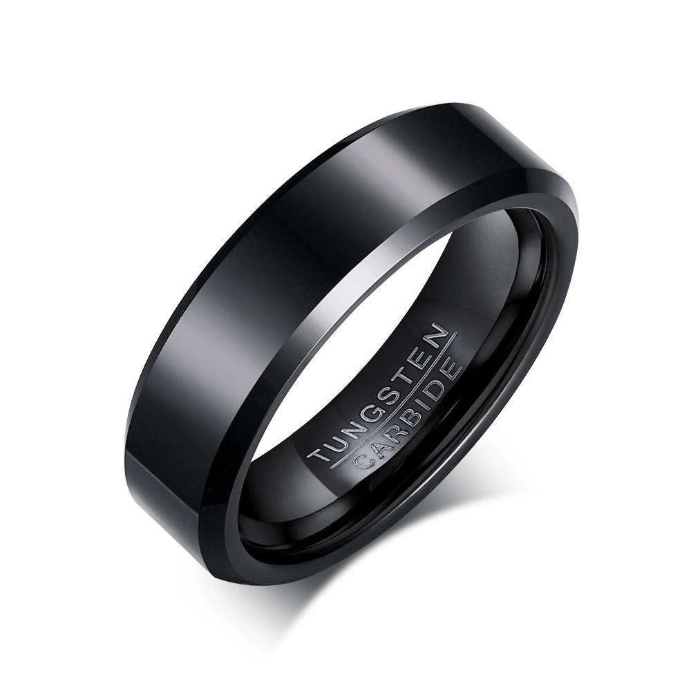 6mm Black Tungsten Carbide Ring Mens Womens Wedding Bands High Polished Beveled Edges