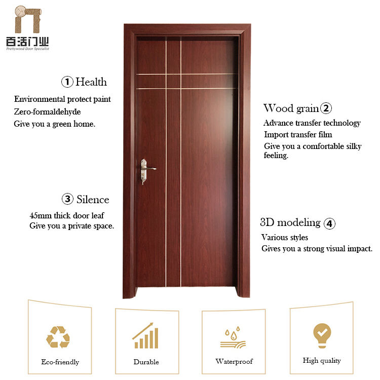 Interior Wooden Door Wood Panel Door Design Waterproof Eco-Friendly Wooden Plastic Panel Modern Bathroom Design Interior WPC Door