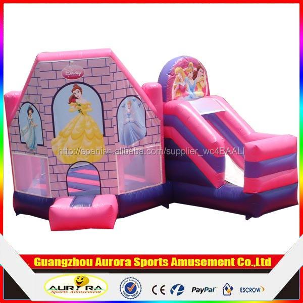 Popular divertido inflable castillo de la princesa combo, castillo de la despedida
