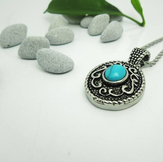 Fashion antique stainless steel pendant with turquoise wholesale