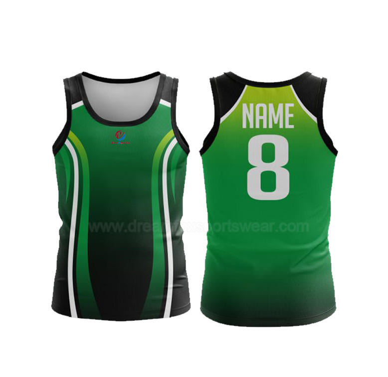 custom number green sublimated running vest High Quality Custom Softball Singlet boy kids cool gym training singlets for men