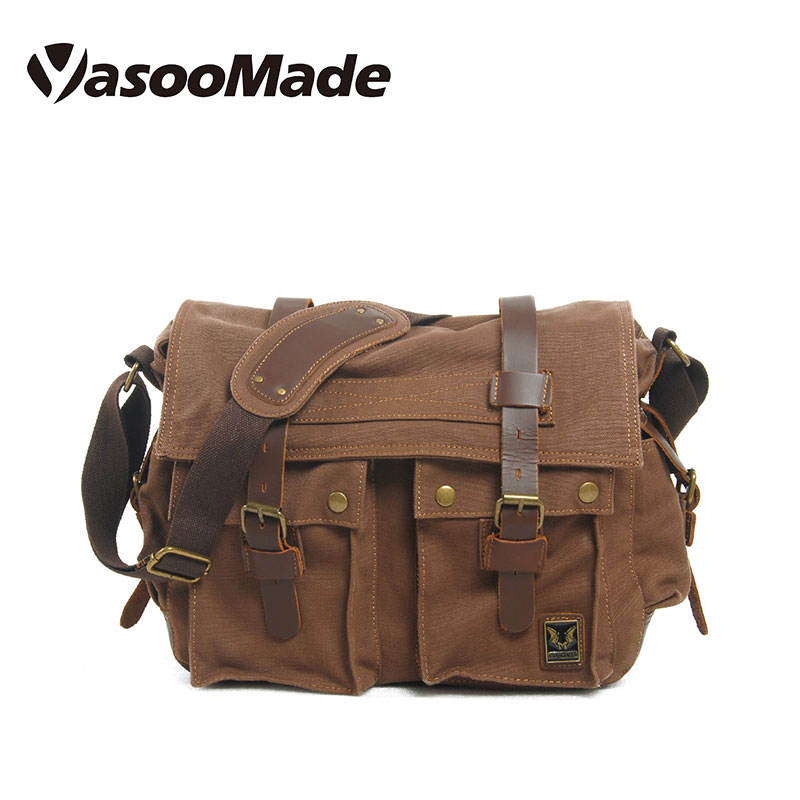 빈티지 design Women Men Sling 가죽 waxed Canvas Messenger Bag