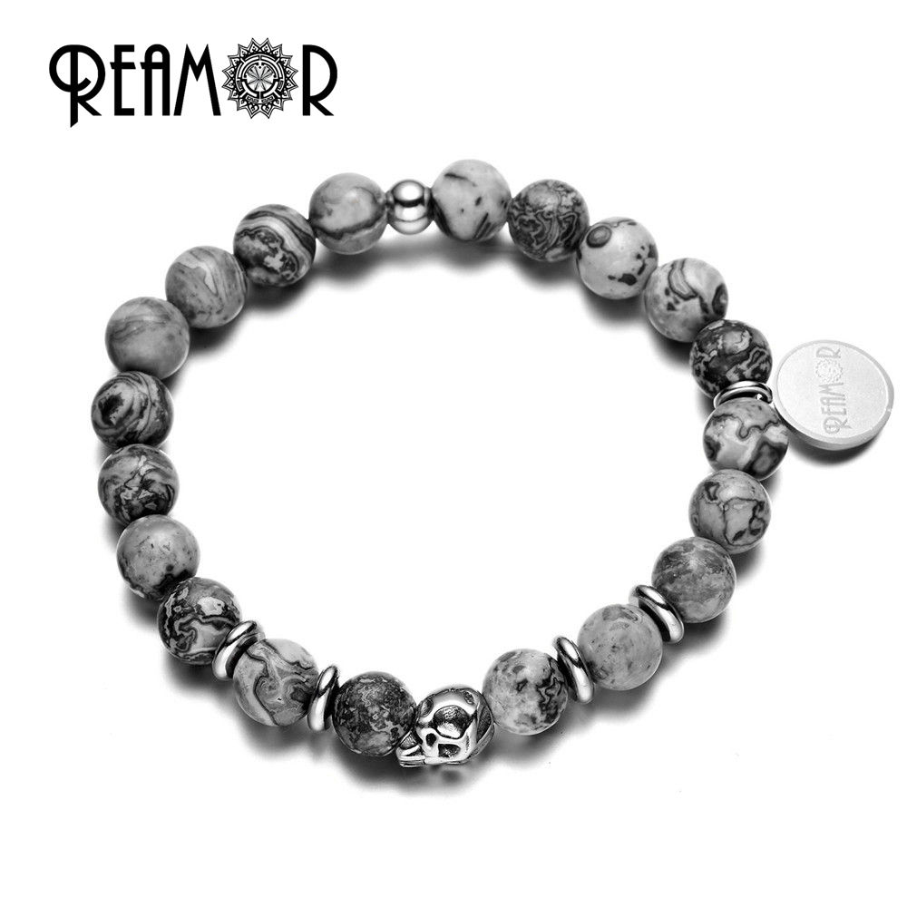 REAMOR Natural Gray 맵 돌 361l Stainless Steel Skull Bead 탄성 가닥 Bracelet 대 한 Men 2019 Charm Jewelry