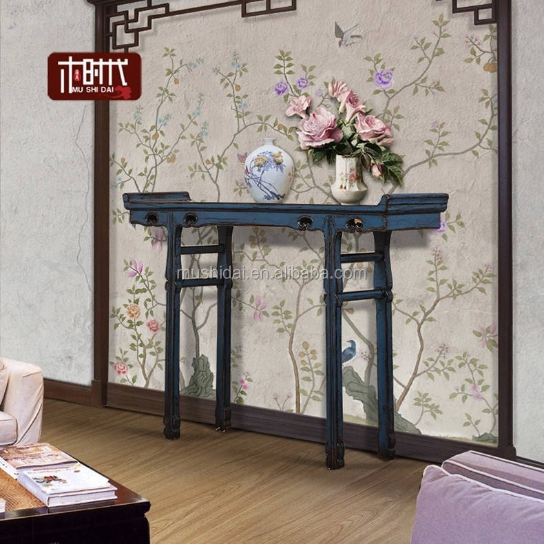 chinese antique tea table unique furniture solid wood blue color console tble long narrow side table