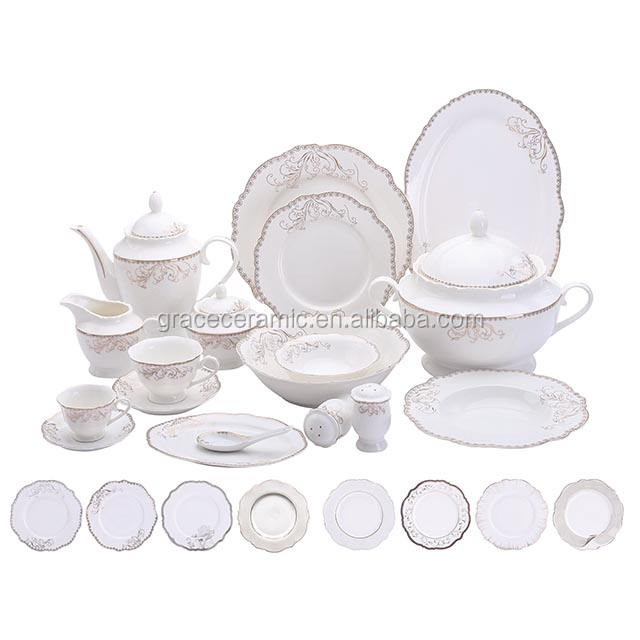 12 Person 125pcs White Gold Rimmed Luxury Fine Bone china Porcelain Dinner Set