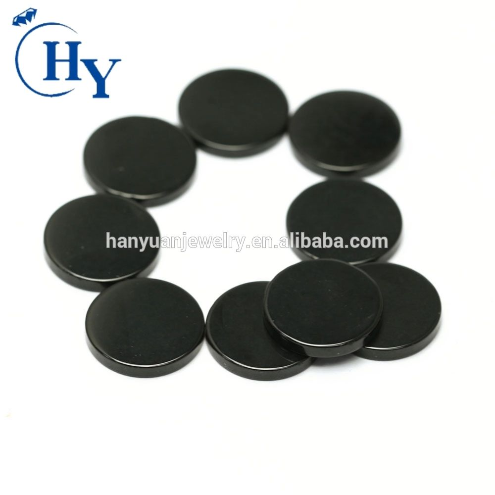 Round shape Cabochon cut blank sliced black onyx stone