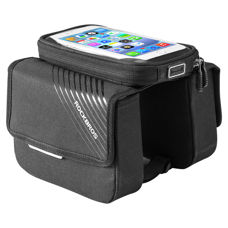 ROCKBROS Bicycle Accessory Front Frame Phone Bag Bike Top Tube Pannier Bag with Touch Screen Phone Case