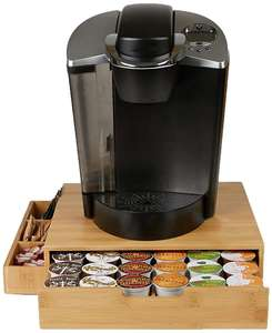 Bamboo Coffee Pod Capsule Storage Box Machine Stand Holder Single Serve Drawer with sugar Side Condiment Caddy Organizer