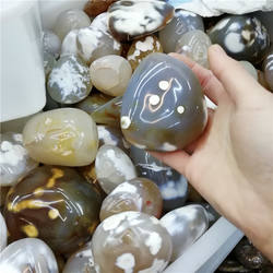 Wholesale Beautiful Flower Agate Palm Stones Natural Polished Cherry Blossom Agate For Home Decoration