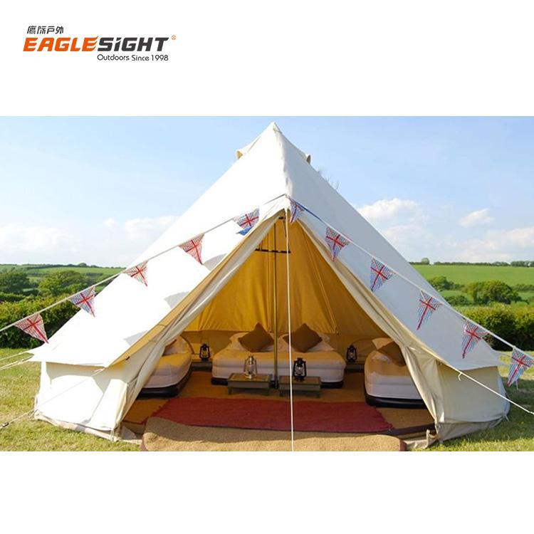 3m 4m 5m 6m 100% Cotton Canvas Emperor Bell Camping Tent Family