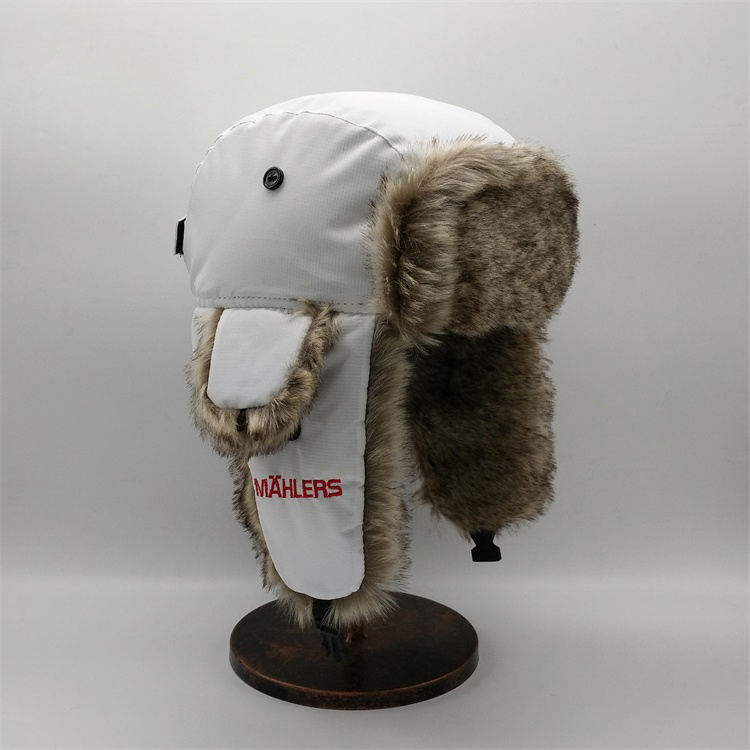 Classical Winter Russian Style Trapper Hat With Faux Fur Earflap