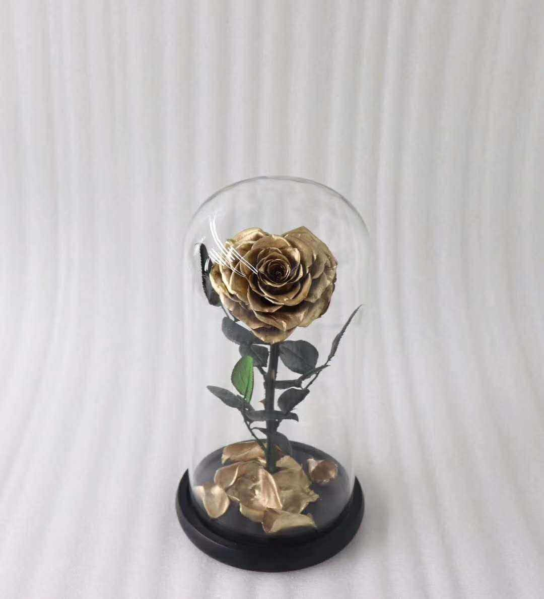 Never fade gold dipped heart shape real preserved gold rose in glass