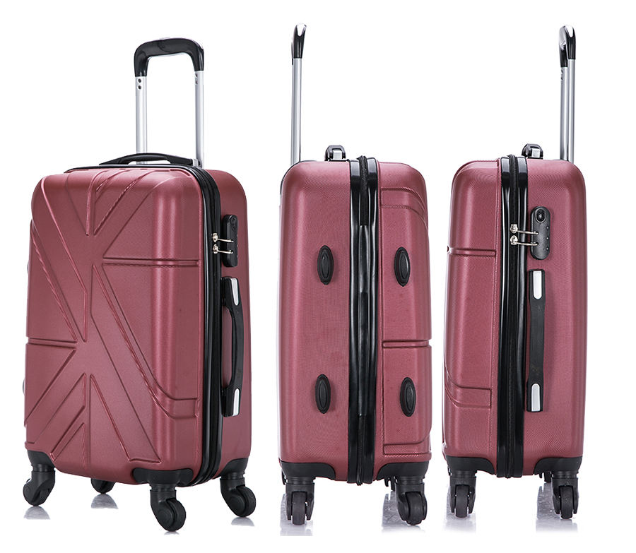 Men Women New Fashion Design 3-Piece PC Trolley Bag Red Travelling Suitcases Luggages Case ABS