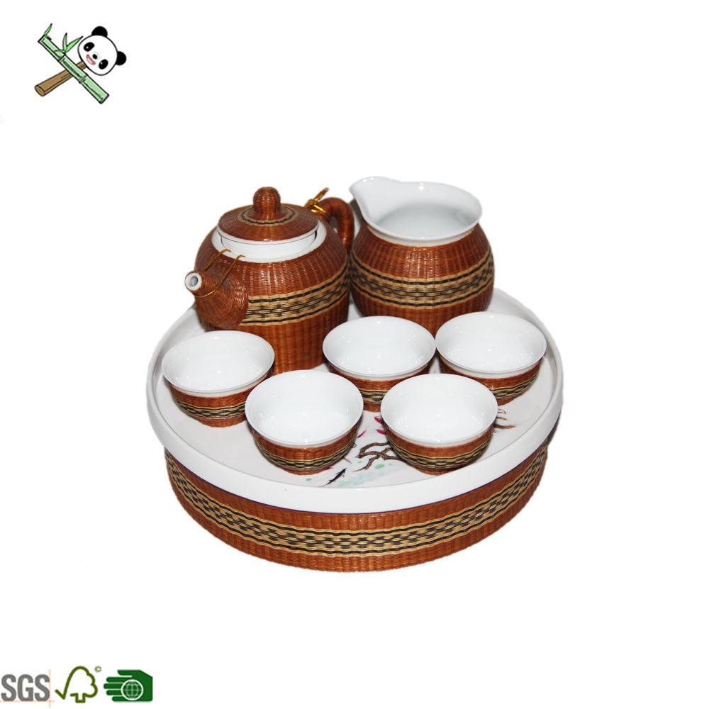 7 unids/set bambú tejido cerámica tazas <span class=keywords><strong>tetera</strong></span> con bandeja juegos de té de cerámica