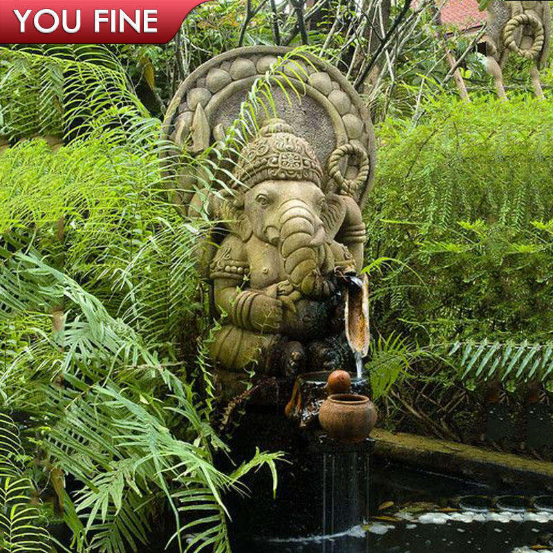 Hand Carved Natural stone ganesh Fountain outdoor