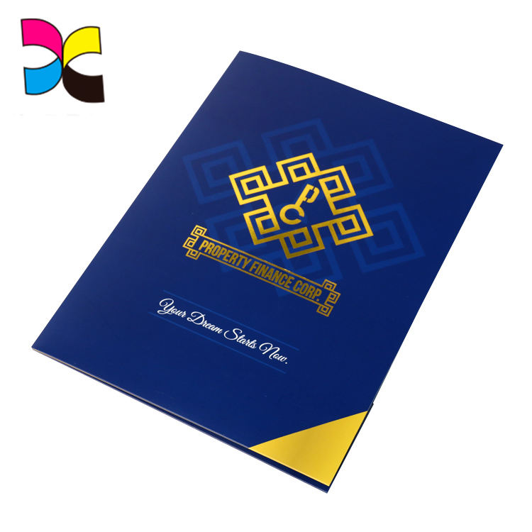 Customized design with own logo printing paper folders pocket with logo