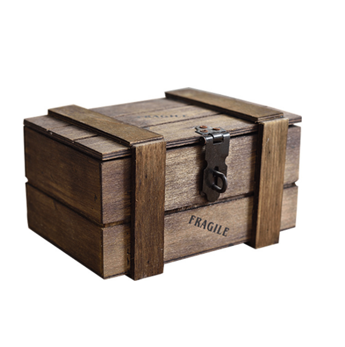 Solid Pine Rustic Wooden Keepsake Gift Box with lock