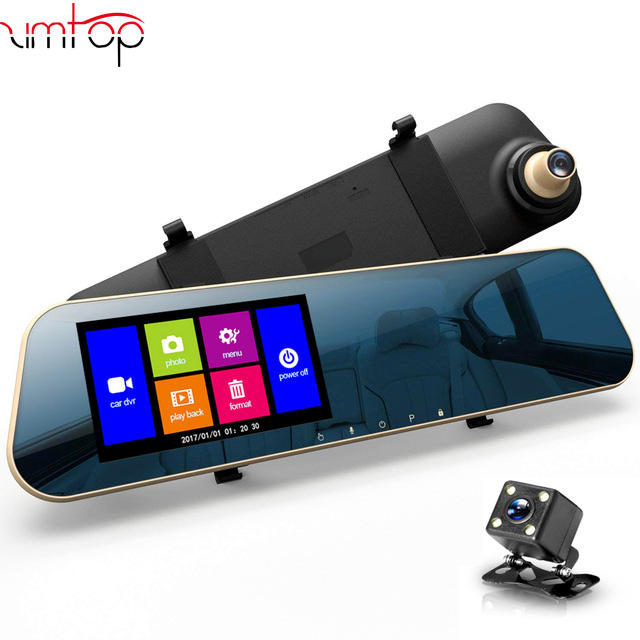 Zimtop carcam hd 4.3 inch full hd 1080p 720p vehicle blackbox dual cameras rearview mirror car dvr