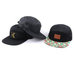 Flat brim plain snapback hat 5 panels wholesale