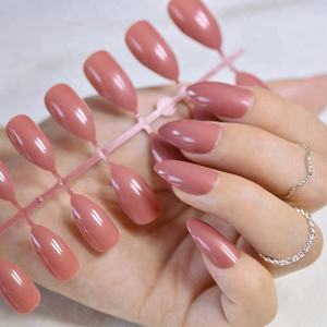 Dusty Cedar Fashion Stiletto False Nails Pointed Sharp Candy Deep Rose Red Nail Tips No Glue Press On Nails