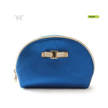 Private label cosmetics makeup pvc leather clutch blue cosmetic bag