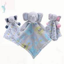 OEM Super Soft Animal Head Plush Elephant Baby Security Blanket
