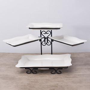 Banquet party used rectangle shape white ceramic dinnerware sets plate with metal rack
