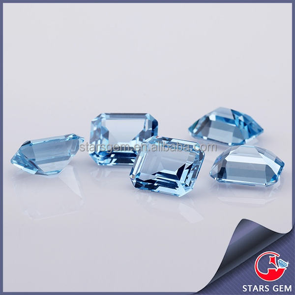 wholesale spinel emerald cut top quality light blue spinel gemstone for engagement ring